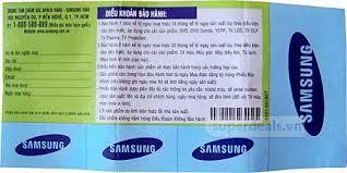 Tờ phiếu bảo hành tivi Samsung